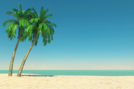 Tourism and Travel Concept. Empty Tropical Paradise Beach with White Sand and Coconut Palm Trees on a Blue Sky Background. 3d Rendering