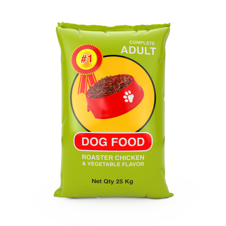 Dog Food Bag Package Design on a white background. 3d Rendering 스톡 콘텐츠