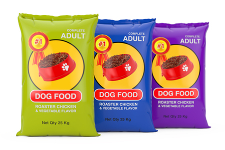 Dog Food Bag Packages Design on a white background. 3d Rendering 스톡 콘텐츠