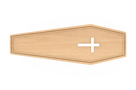 Wooden Coffin With Golden Cross and Handles on a white background. 3d Rendering Stock Photo