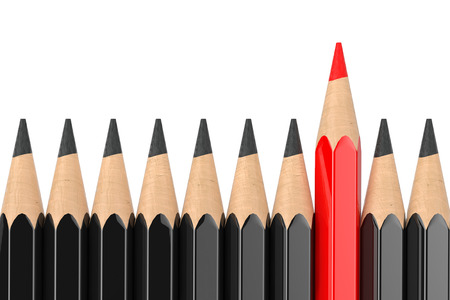 Think Differently Business Concept. Red Pencil Standing Out of Black Pencil Row on a white background. 3d Rendering