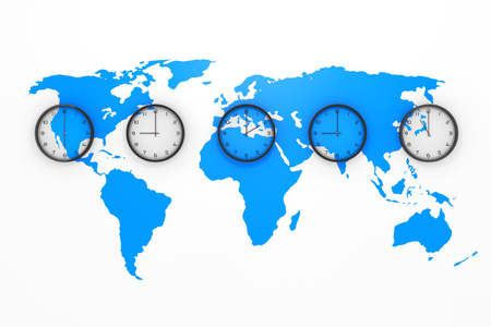 Set of Clocks with Different World Time with Blue World Map on a white background. 3d Rendering