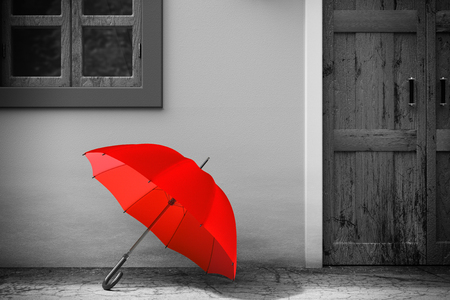 Red Umbrella in front of Retro Vintage European House Building in Monochrome Style, Narrow Street Scene extreme closeup. 3d Rendering