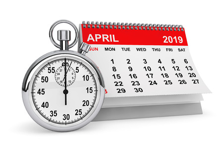 2019 year calendar. April calendar with stopwatch on a white background. 3d rendering