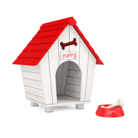 Dog Chew Bone in Red Plastic Bowl for Dog in front of Wooden Cartoon Dog House on a white background. 3d Rendering