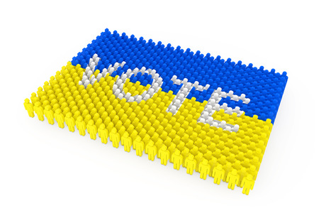 Rows of People Icon as Ukraine Flag and Vote Sign on a white background. 3d Rendering