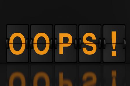 Mechanical Analog Flip Clock Board with Oops Sign extreme closeup. 3d Rendering Reklamní fotografie