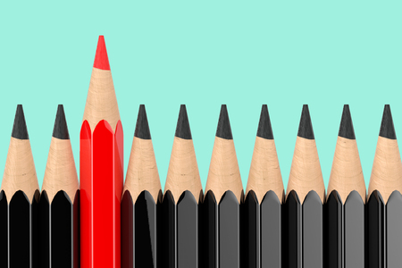 Think Differently Business Concept. Red Pencil Standing Out of Black Pencil Row on an aquamarine background. 3d Rendering