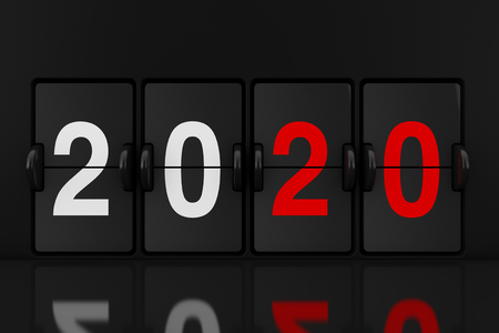 Mechanical Analog Flip Clock Board with 2020 New Year Sign extreme closeup. 3d Rendering Reklamní fotografie