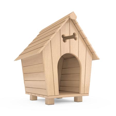 Casa de perro de dibujos animados de madera sobre un fondo blanco. Representación 3D