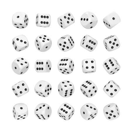Casino Gambling Concept. Set of White Game Dice Cubes in Differetn Position on a white background. 3d Rendering