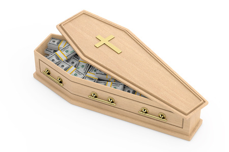 Heap of  United States Dollar Bills in Wooden Coffin With Golden Cross and Handles on a white background. 3d Rendering