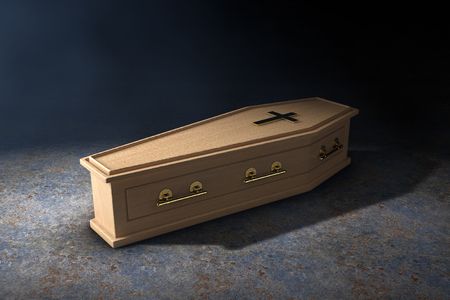 Wooden Coffin With Golden Cross and Handles in the Volumetric Light on a black background. 3d Rendering Banque d'images - 117787327