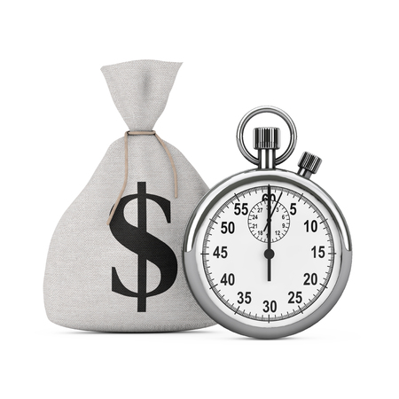 Quick Loan Concept. Stopwatch near Tied Rustic Canvas Linen Money Sack or Money Bag with Dollar Sign on a white background. 3d Rendering