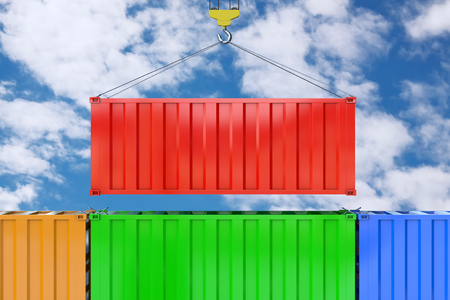 Red Cargo Shipping Container Transportation with Crane Hook on a blue sky background. 3d Rendering