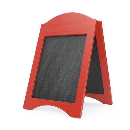 Red Blank Wooden Menu Blackboard Outdoor Display on a white background. 3d Rendering