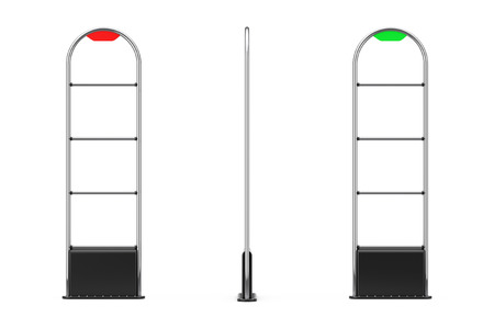 Anti Theft Sensor Security Gate Scanner on a white background. 3d Rendering