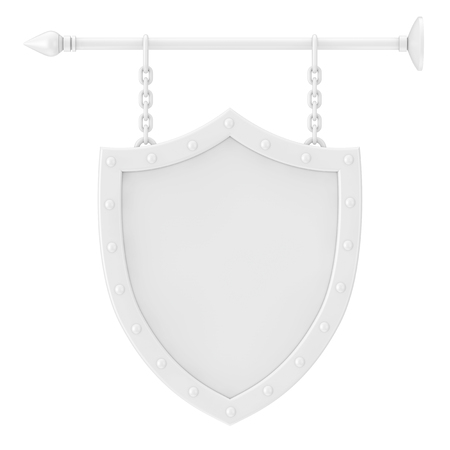 Shield Shaped White Blank Signboard with Chains in Clay Style on a white background 3d Rendering 스톡 콘텐츠