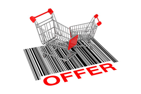 Two Empty Shopping Carts over Abstract Bar Code with Offer Sign on a white background. 3d Rendering