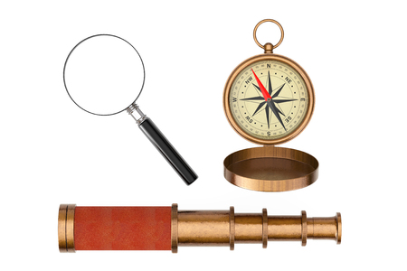 Antique Vintage Brass Compass, Telescope Spyglass and Magnifying Glass on a white background. 3d Rendering