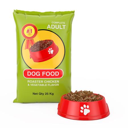 Diseño de paquete de bolsa de comida para perros cerca de recipiente de plástico rojo con comida seca para perro sobre un fondo blanco. Representación 3D