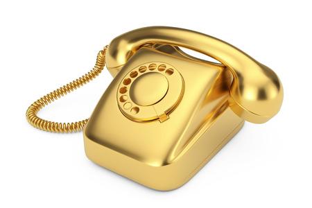 Téléphone à cadran de style vintage or sur fond blanc rendu 3d