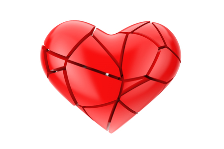 No Love Symbol. Broken Red Heart on a white background 3d Rendering