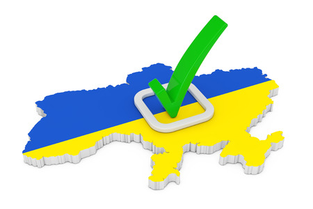 Voting in Ukraine Concept. Voting Green Check Mark Icon over Shape of Ukraine Map with Flag on a white background. 3d Rendering