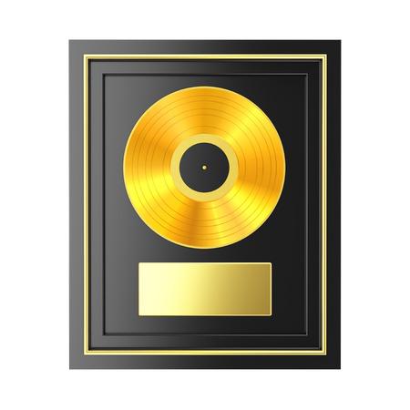 Golden Vinyl or CD Prize Award with Label in Black Frame on a white background. 3d Rendering