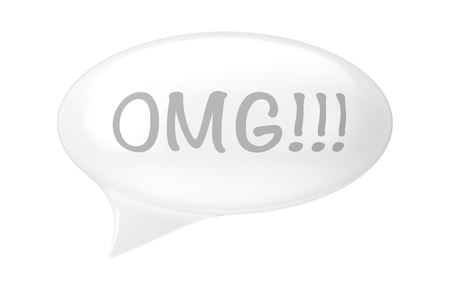 White Speech Bubble with OMG Sign on a white background. 3d Rendering
