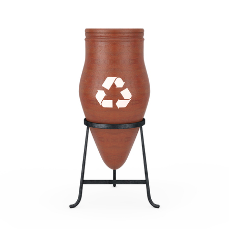 Clay Trash Bin Pot with Recycle Sign on a white background. 3d Rendering