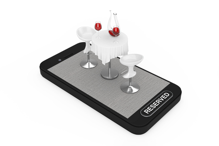 Restaurant Table and Chairs with Red Wine on Smartphone Mobile Phone and Reserved Button on a white background. 3d Rendering