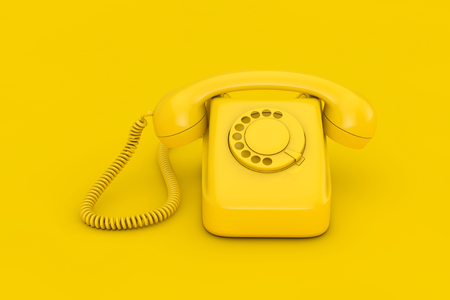 Yellow Vintage Styled Rotary Phone on a yellow background 3d Rendering