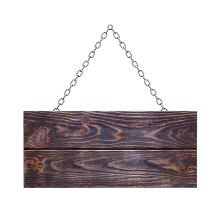 Old Wooden Signboard with Chain on a white background. 3d Rendering