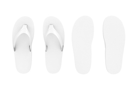 White Flip Flops Sandals in Clay Style on a white background. 3d Rendering