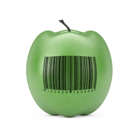 Fresh Green Apple with Bar Code on a white background. 3d Rendering