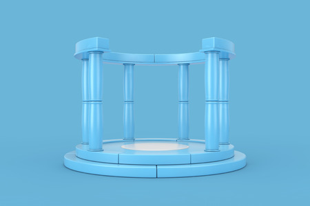 Blue Antique Podium with Columns on a blue background. 3d Rendering Standard-Bild - 119979583