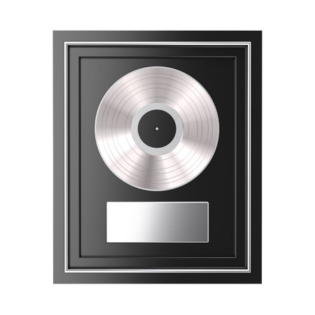 Platinum or Silver Vinyl or CD Prize Award with Label in Black Frame on a white background. 3d Rendering 版權商用圖片