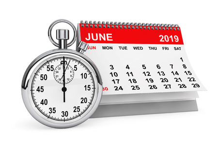 2019 year calendar. June calendar with stopwatch on a white background. 3d rendering
