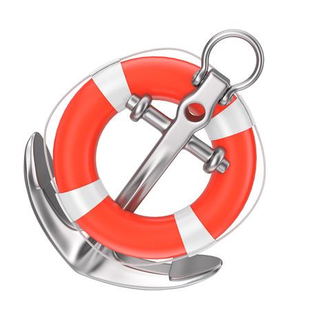 Ancre nautique avec bouée de sauvetage sur fond blanc rendu 3d Banque d'images