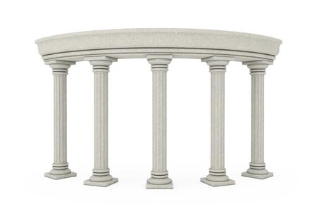 Antike klassische griechische Säulenbogen auf weißem Hintergrund. 3D-Rendering
