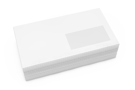 Stack of White Blank Window Envelope on a white background. 3d Rendering 版權商用圖片