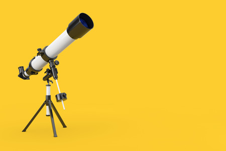 White Modern Mobile Telescope on Tripod on a yellow background. 3d Rendering Stok Fotoğraf