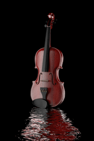 Classical Wooden Violin on a black background. 3d Rendering Stock Photo
