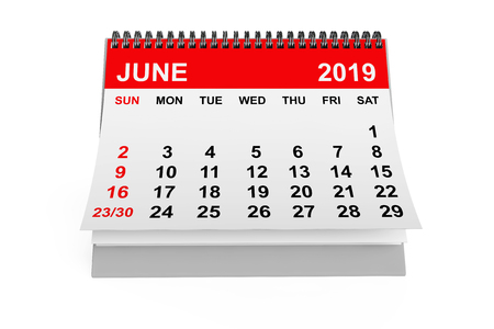 2019 year calendar. June calendar on a white background. 3d rendering Stock Photo