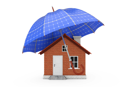 Umbrella with Sollar Panels Over House on a white background 3d Rendering Archivio Fotografico - 121854022