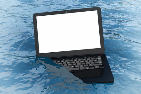 Modern Laptop Notebook with Blank Screen for Your Design in Blue Ocean Waves extreme closeup. 3d Rendering Stock Photo