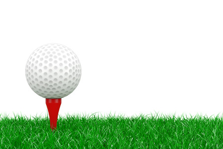 A White Golf Ball on Red Tee in Green Grass on a white background 3d Rendering Imagens