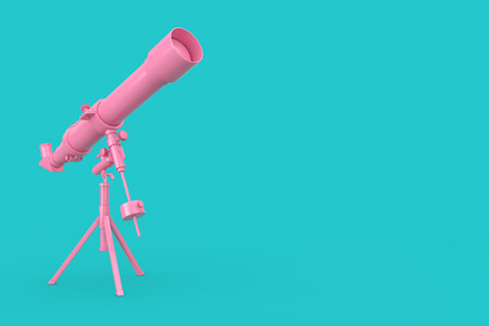 Pink Modern Mobile Telescope on Tripod on a blue background. 3d Rendering
