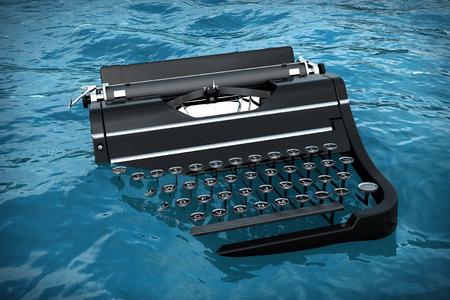 Old Vintage Retro Typewriter in Blue Ocean Waves extreme closeup. 3d Rendering